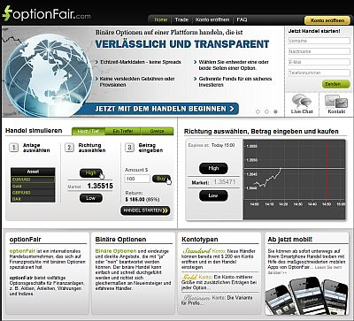 Screenshot optionFair Webseite